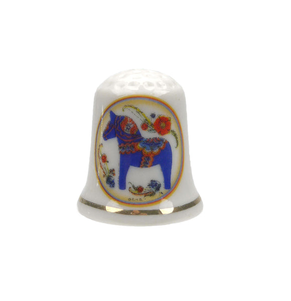 Souvenir Thimble Blue Dala Horse - DutchNovelties  - 1