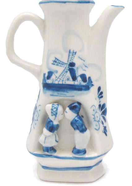 Delft Blue Kissing Couple Teapot Flower Vase - DutchNovelties  - 1
