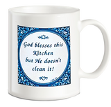 Dutch Coffee Cup: God Blesses This Kitchen.. - DutchNovelties