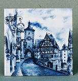 German Souvenir Rothenberg Scene Blue Tile - DutchNovelties