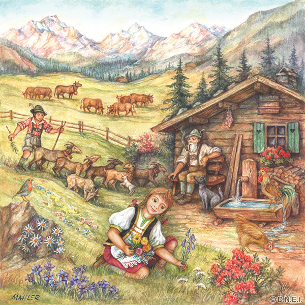 "Heidi Alpine Scene 6x6"" Ceramic Wall Plaque - DutchNovelties  - 1"