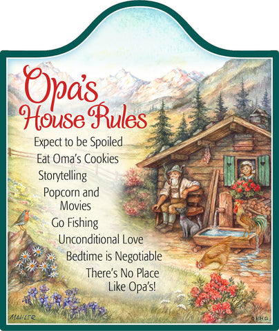 Cork Backed Ceramic Cheeseboard: Opa's House Rules - DutchNovelties  - 1