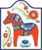 Cork Backed Ceramic Cheeseboard: Red Dala Horse - DutchNovelties  - 1