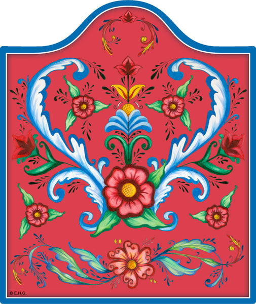 Red Rosemaling Ceramic Cheeseboard - DutchNovelties  - 1