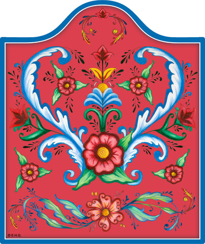 Red Rosemaling Ceramic Cheeseboard - DutchNovelties