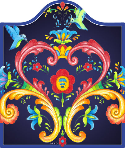 Ceramic Cheeseboard: Blue Rosemaling - DutchNovelties  - 1
