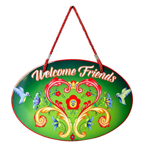 Cork Backed Ceramic Door Sign: Welcome Friends Rosemaling Green