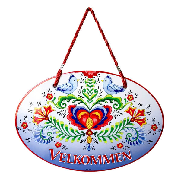 Ceramic Door Sign: Velkommen Rosemaling and Lovebirds