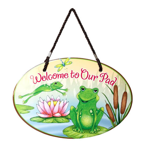 Ceramic Door Sign: Welcome To Our Pad Frog Design