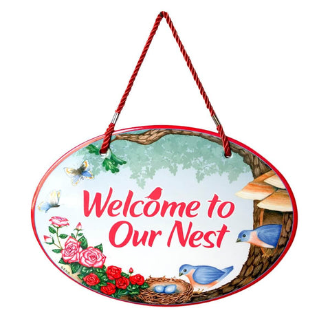 Ceramic Door Sign: Welcome To Our Nest Bird Design