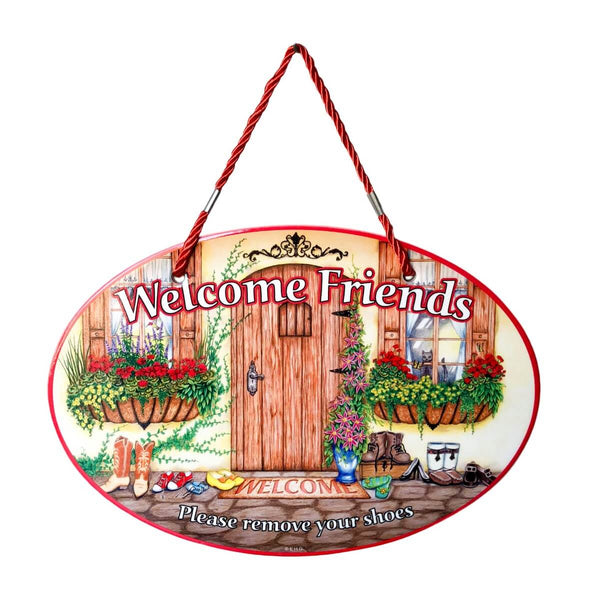 Take Off Shoes: Welcome Friends Decor Door Sign