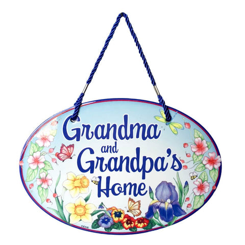 "Welcome Sign ""Grandma & Grandpa's Home"" Decor Door Sign"