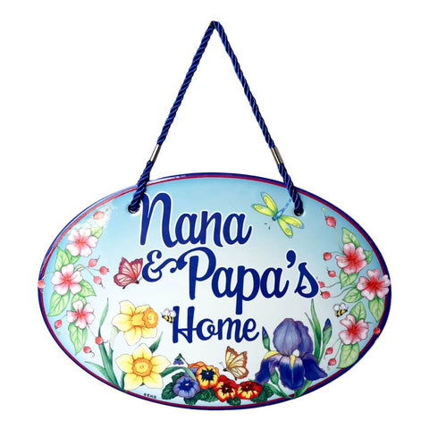 "Welcome Sign ""Nana & Papa's Home"" Decor Door Sign"