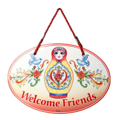 "Russian Nesting Doll ""Welcome Friends"" : Decor Door Sign"