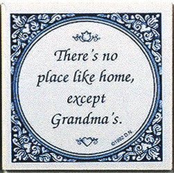 Grandma's Home Dutch Gift Tile. Blue and White - DutchNovelties
