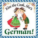 German Souvenir Plaque: Kiss German Cook - DutchNovelties