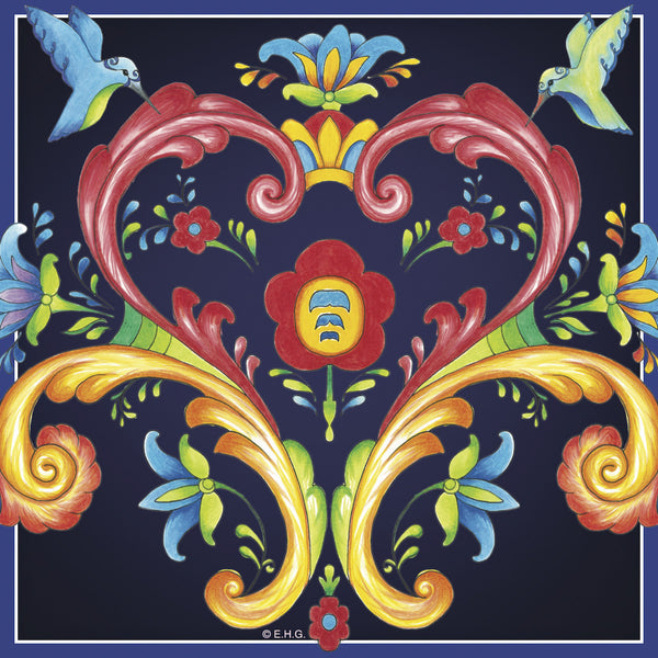 Ceramic Deluxe Wall Tile: Blue Rosemaling - DutchNovelties  - 1
