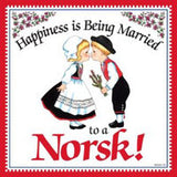 Norwegian Gift Idea Tile Happily Married Norsk... - DutchNovelties  - 1