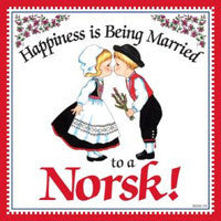 Norwegian Gift Idea Tile Happily Married Norsk... - DutchNovelties