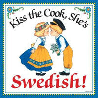 """Kiss Swedish Cook"" Swedish Gift Wall Plaque - DutchNovelties  - 1"