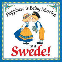 """Married to Swede"" Swedish Gift Wall Plaque - DutchNovelties  - 1"