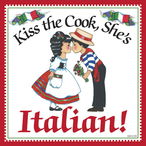 "Italian Gift Idea Decorative Plaque ""Kiss Italian Cook"" - DutchNovelties  - 1"