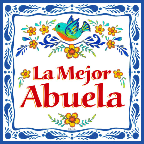 """La Mejor Abuela"" : Ceramic Decor Tile - DutchNovelties"