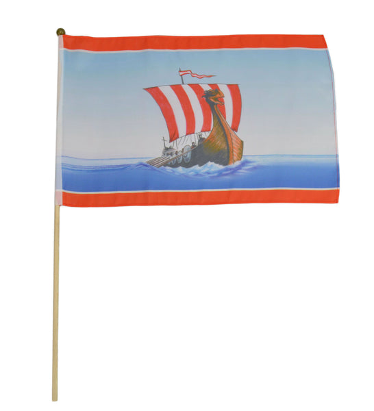 Viking Ship Flag On Pole - DutchNovelties