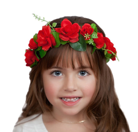 Red Rose Bridal Flower Garland Headband - DutchNovelties  - 1