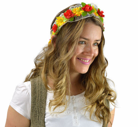 Spring Flowers & Lace Bridal Garland Headband - DutchNovelties  - 1
