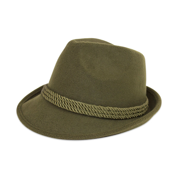 Green Felt Fedora Hat with Feather