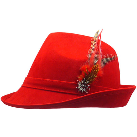 """German Hunter"" Red Hat Fedora And Edelweiss & Feather"