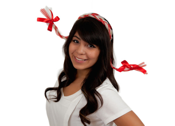Party Hat for Oktoberfest Light Braids Red/White - DutchNovelties