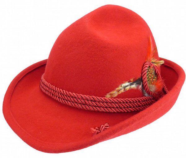 Deluxe German Bavarian Alpine Wool Hat Red - DutchNovelties  - 1