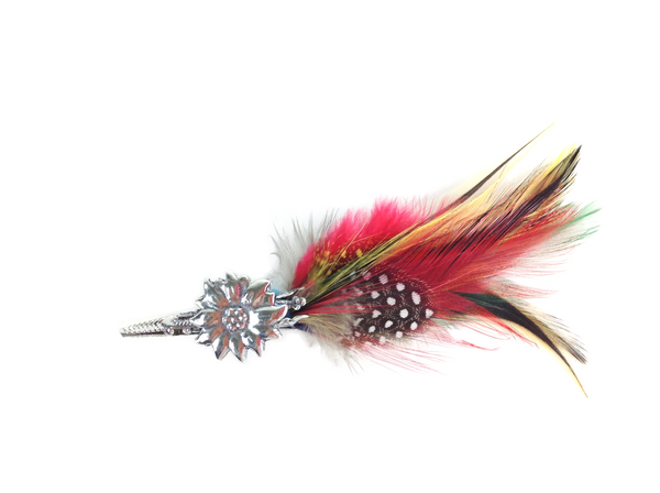 Edelweiss Hat Pin w/ Colorful Feather - DutchNovelties