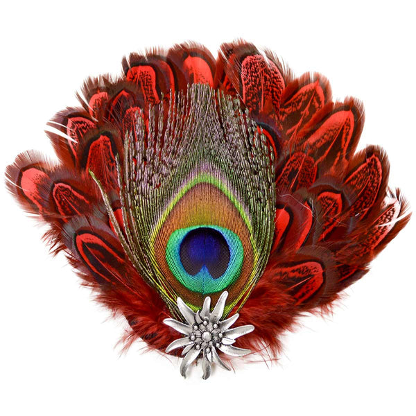 Hat Pin Deluxe Peacock & Red Hat Feathers