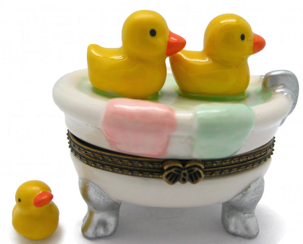 Ducks In Bathtub Ceramic Jewelry Box - DutchNovelties