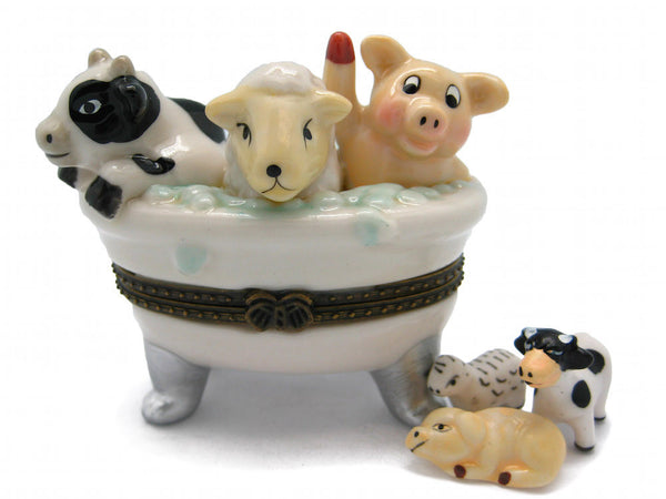 Cow, Sheep, Pig Bathtub Ceramic Jewelry Box - DutchNovelties  - 1