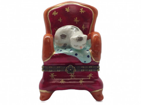 Cat on Red Chair Ceramic Jewelry Box - DutchNovelties  - 1