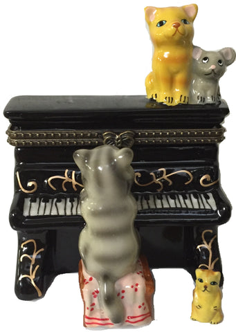 Cat Playing Piano Ceramic Jewelry Boxes - DutchNovelties