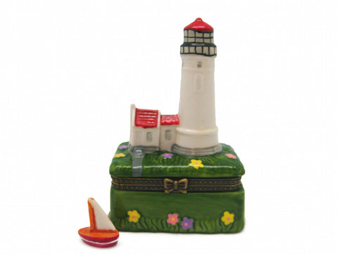 Red Lighthouse Ceramic Jewelry Box - DutchNovelties