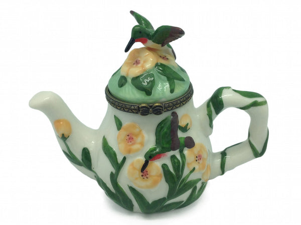 Hummingbird and Tea Pot Ceramic Jewelry Box - DutchNovelties  - 1