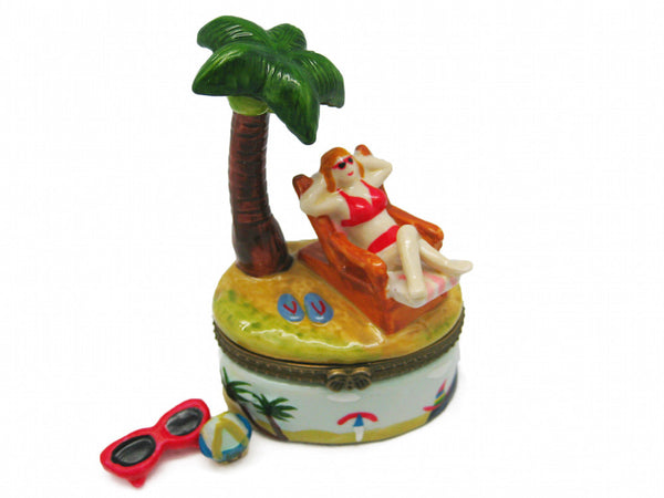 Woman on Beach Chair Ceramic Jewelry Box - DutchNovelties  - 1