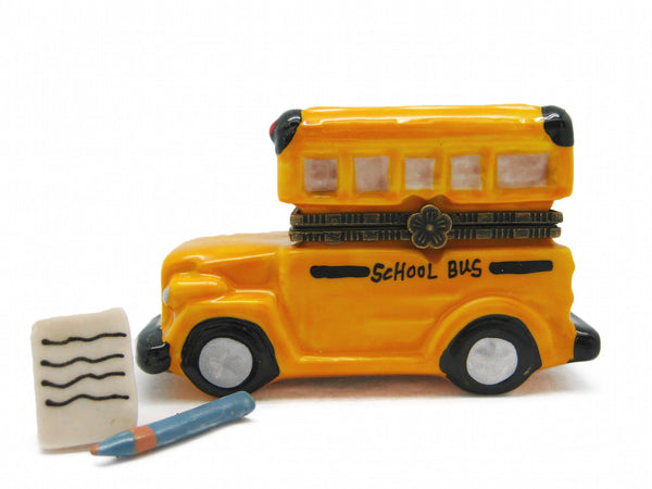 Small Yellow School bus Collectible Hinge Box - DutchNovelties  - 1