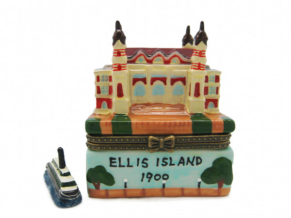 Ellis Island Building Porcelain Hinged Box Souvenir - DutchNovelties  - 1