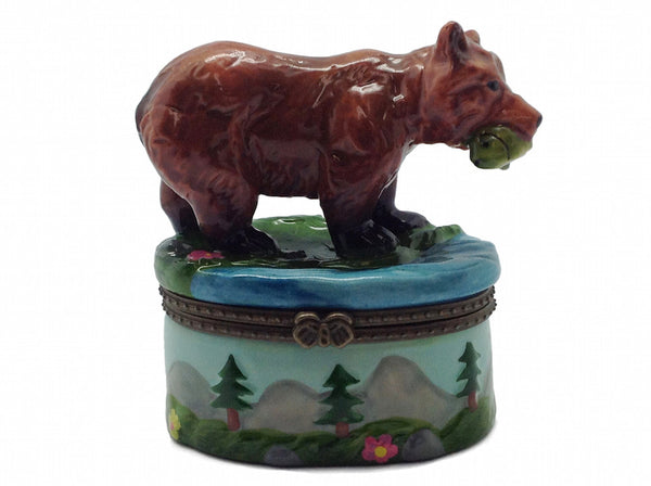 Western Gifts Hinge Box: Bear With Salmon - DutchNovelties  - 1