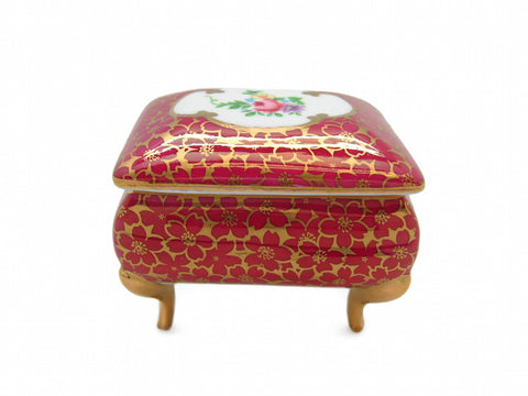 Antique Red Square Victorian Jewelry Box - DutchNovelties
