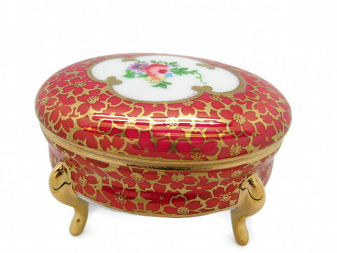 Antique Red Oval Victorian Jewelry Box - DutchNovelties