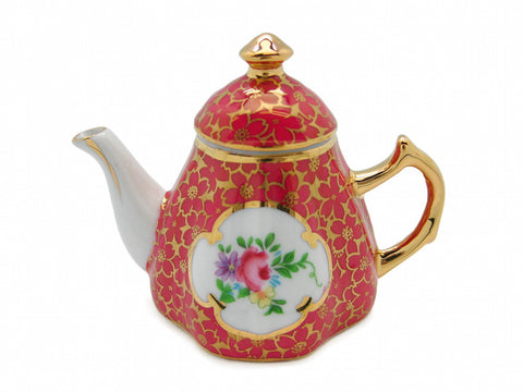 Antique Red Tea Pot Victorian Jewelry Box - DutchNovelties