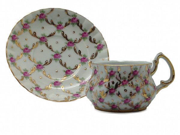Gold Finish Porcelain Mini Tea Set Cup & Saucer - DutchNovelties